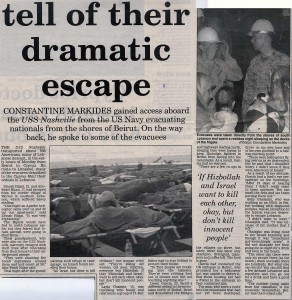 2006 Lebanon War Evacuees Stories from USS Nashville (Sunday Mail article by Constantine Markides)