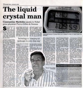 Nobel Prize Physicist Pierre-Gilles de Gennes (Cyprus Mail interview by Constantine Markides)