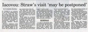 Jack Straw in Cyprus (Cyprus Mail article by Constantine Markides)